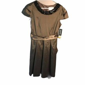 Julian Taylor Dress Olive Green Black Beaded Neck